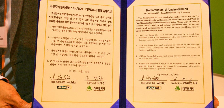 Absichtserklärung zur Zusammenarbeit zwischen dem Netzwerk AMZ und der südkoreanische Region Daegu
