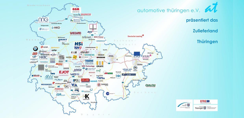 Karte Automobilzulieferer in Thüringen