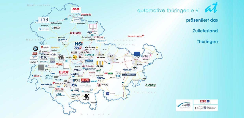 Karte Thüringen.At Thueringen Karte Zulieferer Autoland Sachsen