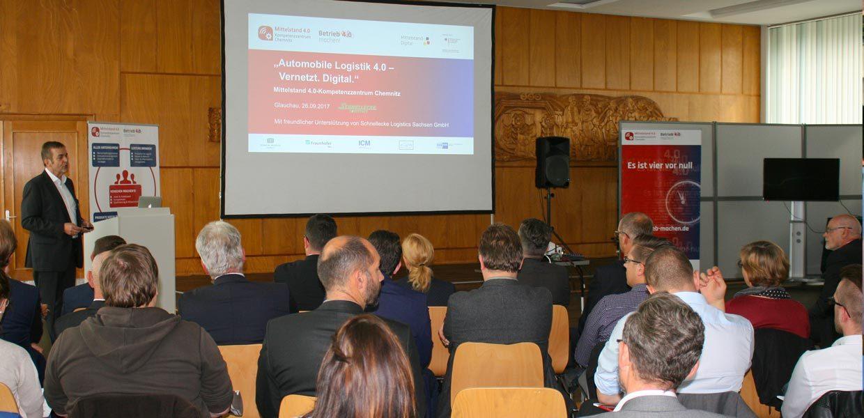 Unternehmerforum des Mittelstand 4.0-Kompetenzzentrums Chemnitz bei Schnellecke Logistics Sachsen in Glauchau.