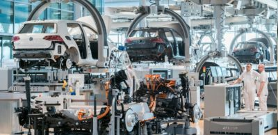 Produktion des e-Golf3 in der Gläsernen Manufaktur von VW Sachsen in Dresden.