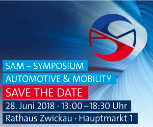 Anzeige SAM Symposium Automotive & Mobility 28. Juni 2018 in Zwickau Save the Date
