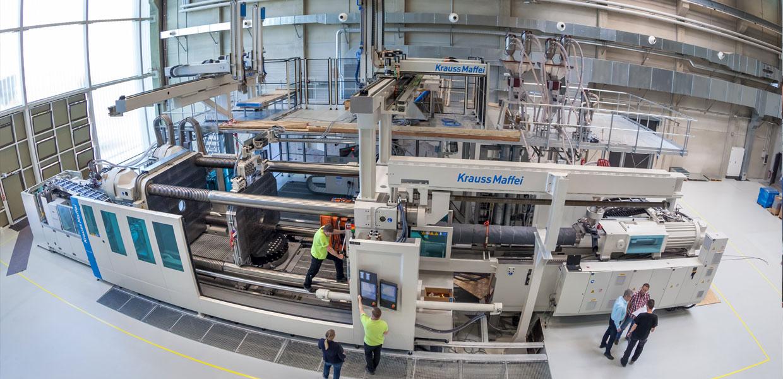 Blick in das MERGE Technologiezentrum auf dem Campus der TU Chemnitz. Der Leichtbau-Forschungscluster war am 19./20. April 2018 Gastgeber der 2. Polnisch-Deutschen Brückenkonferenz.