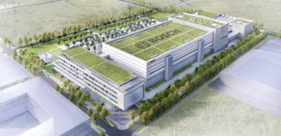 Blick auf den Entwurf der künftigen Bosch-Halbleiter-Fabrik in Dresden. Der Grundstein wurde Ende Juni 2018 gelegt. Ende 2019 soll die Fertigungs-technik in den Komplex einziehen. Bis zu 700 Arbeitsplätze sind mit der Investition von einer Milliarde Euro verbunden.