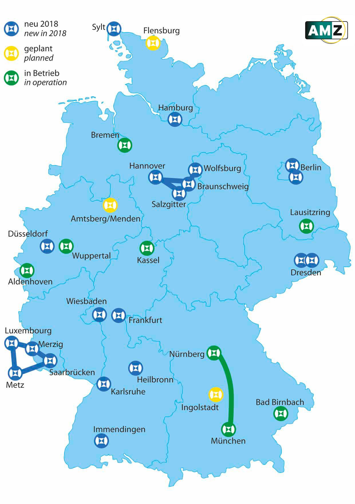 Übersicht über die bereits vorhandene bzw. im Bau oder in Planung befindliche Testfelder für automatisiertes Fahren in Deutschland. AMZ erfasst in einer Kurzstudie die abbildbaren Szenarien und Testfunktionen