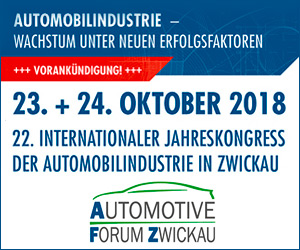 Anzeige: 23. und 24. Oktober 2018 – 22. Internationaler Jahreskongress der Automobilindustrie in Zwickau