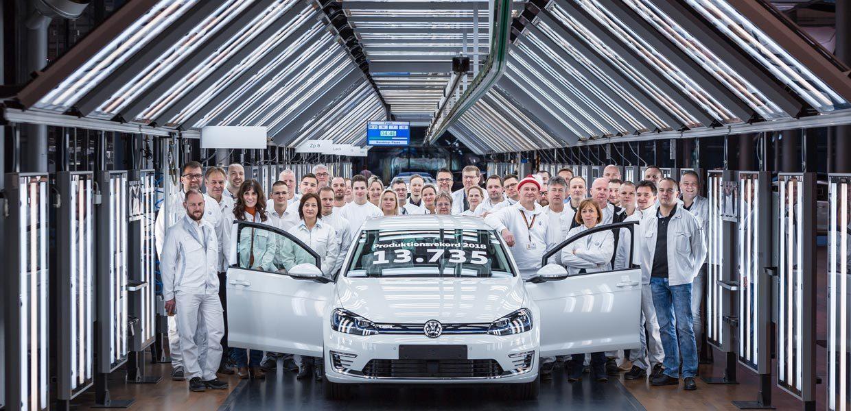 Produktionsrekord des e-Golf. 2018 wurden in der Gläsernen Manufaktur 13.735 Stück produziert.