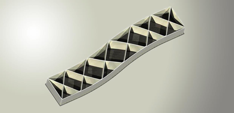 Dieses Versuchsbauteil ist ein Hybrid aus CFK-Blech und 3D-gedruckten Strukturen – mit SEAM ist es erstmals möglich, auf Spritzgieß-Komponenten oder Bleche aufzudrucken.