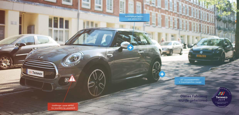 """Twinner erzeugt innerhalb kürzester Zeit digitale Zwillinge von Autos. Der """"Digital Twinn""""liefert auf Knopfdruck eine objektive und repräsentative Grundlage für die Bewertung von Fahrzeugzuständen, insbesondere bei Besitz- oder Nutzungsübergängen."""