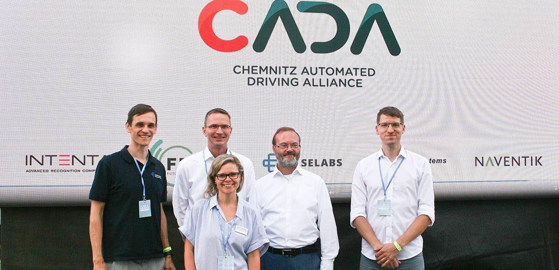 Die Partner in der CADA-Allianz: Maika Stephan von Intenta, Holger Löbel von Baselabs, Karsten Schulze von FDTech, Dr. Ullrich Scheunert von FusionSystems und Robin Streiter von Naventik (v. l.)