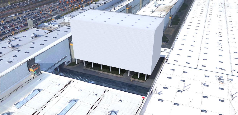 Visualisierung des neuen Karosserie-Speichers. Er hat eine Höhe von 40 Metern und ist nach Fertigstellung Ende 2020 das höchste Gebäude im Werk Zwickau.