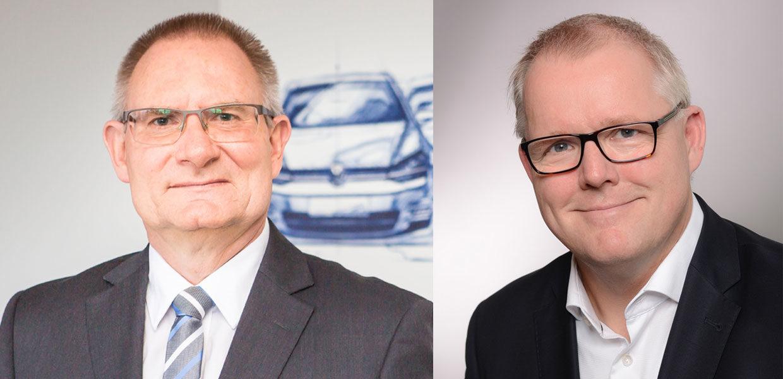 Wechsel in der Geschäftsführung bei Volkswagen Sachsen: Matthias Bursig (links) ist neuer Geschäftsführer Finanz und Controlling der Volkswagen Sachsen GmbH. Kai Siedlatzek (rechts) übernimmt die Leitung Controlling Produkte bei der Audi AG.