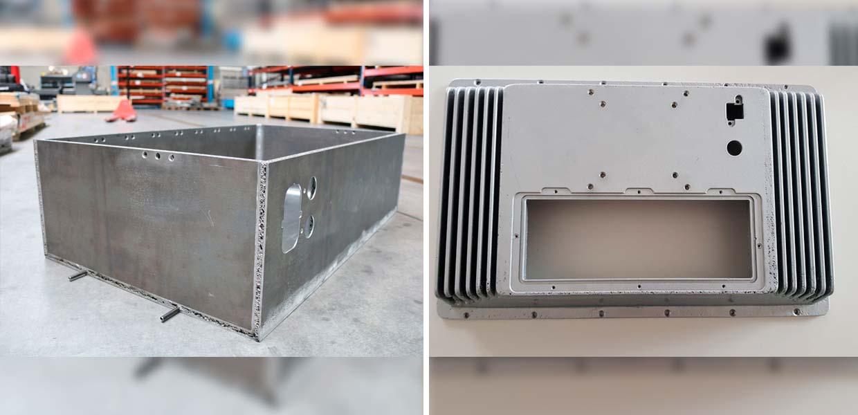 Batterieverkleidungen aus Metallschaum nutzt Scania für seine Elektro-Lkw. Die Technologie für die Herstellung des Leichtbaumaterials resultiert aus einer Kooperation des Fraunhofer IWU mit Havel metal foam. Das Foto links zeigt die Seitenansicht des Systems, das Foto rechts die Draufsicht.
