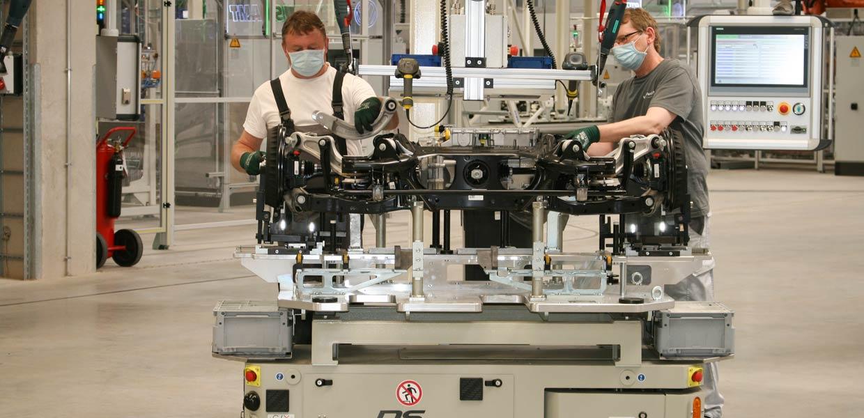 Im Industriepark Meerane arbeitet bereits ein Komponentenwerk der VW AG. Hier erfolgt die Montage der Fahrwerksysteme für die ID-Fahrzeuge, die nach Zwickau ans Band geliefert werden.