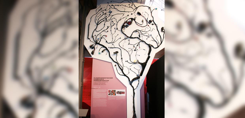 Rund 500 Meter lang und 25 Kilogramm schwer ist der Kabelsatz im Porsche Macan. Konfektioniert wird er vom Automobilzulieferer Dräxlmaier, der u. a. in Leipzig produziert.
