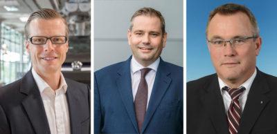 Danny Auerswald leitet seit 1. August die Gläserne Manufaktur von VW in Dresden. Der bisherige Standortleiter Lars Dittert übernimmt den vierten VW-Sachsen-Standort in St. Egidien und folgt auf Uwe Riedel, der in den Ruhestand geht (v. l. n. r.).