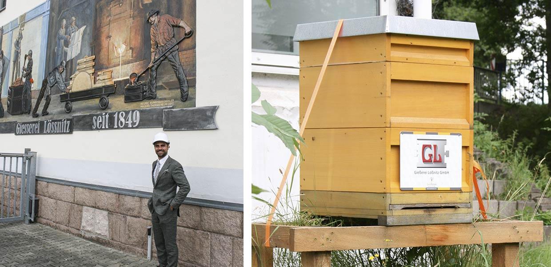 """Geschäftsführer Max Jankowsky vor dem Wandrelief, das auf die lange Tradition der Gießerei hinweist. Auf dem Gießereigelände """"arbeitet"""" auch ein 10.000-köpfiges Bienenvolk."""