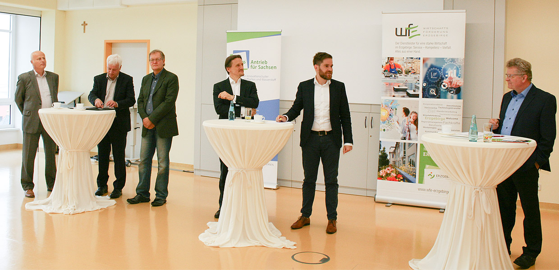 Sie entwarfen die nicht aus der Luft gegriffene Vision vom Erzgebirge als einer führenden H2-Technologie-Region: Volker Schubert/Wätas, Torsten Enders/Wätas, Frank Schmutzler/Schmutzler GbR, Prof. Dr. Thomas von Unwerth/HZwo e. V., Karl Lötsch/HZwo e. V., Matthias Lißke/Wirtschaftsförderung Erzgebirge.