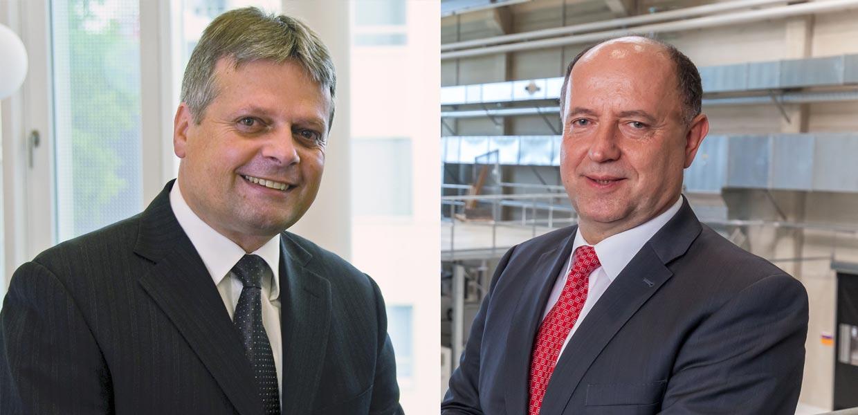 Hubert Jäger, Institut für Leichtbau und Kunststofftechnik der TU Dresden, und Lothar Kroll, Institut für Strukturleichtbau der TU Chemnitz, sind die neu gewählten Vorstandsvorsitzenden des Leichtbau-Allianz Sachsen e. V.